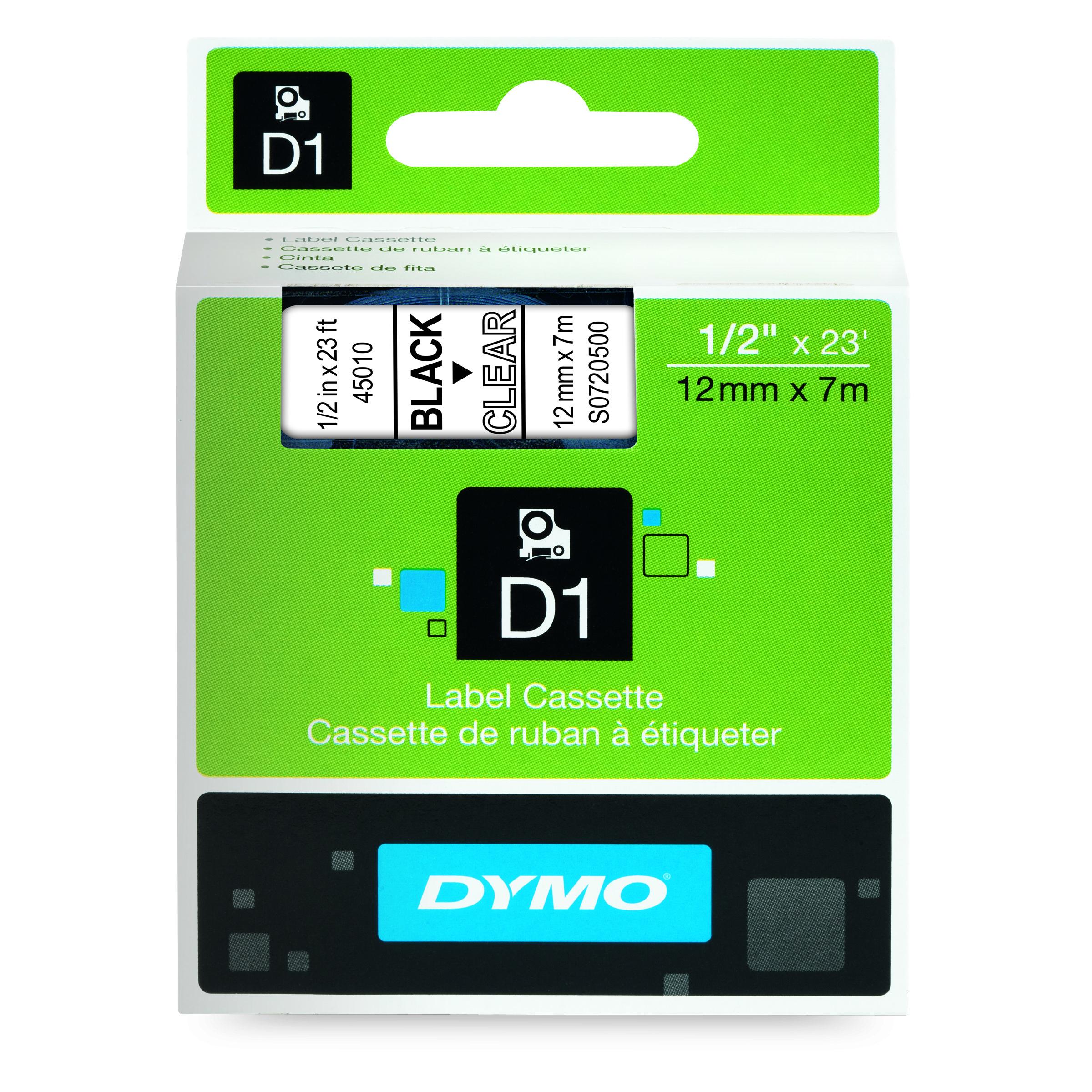 Dymo D1 - Ruban d'étiquettes auto-adhésives - 1 rouleau (12 mm x 7 m) - fond transparent écriture noire
