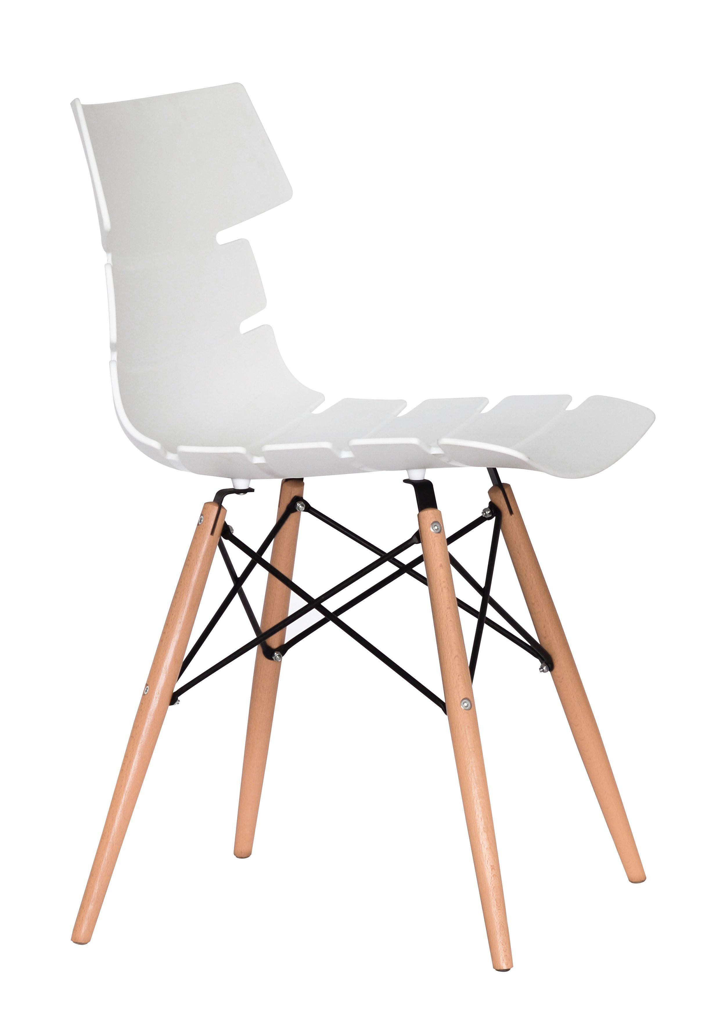 Chaise TESS - pieds bois et acier noir - blanc