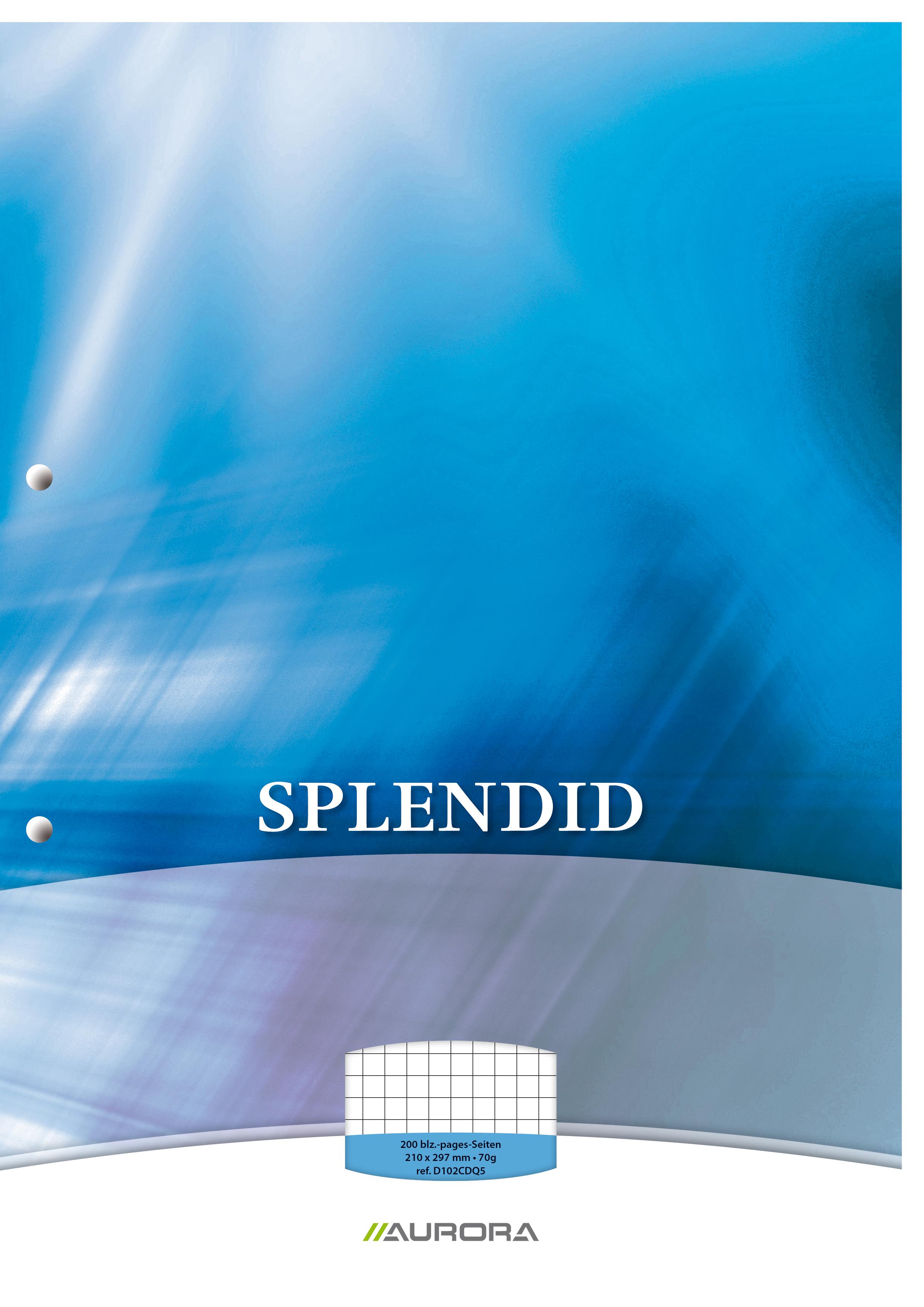 Splendid - Bloc de cours A4 - quadrillé 5x5 mm + marge - 200 pages - perforation 2 trous - 70g