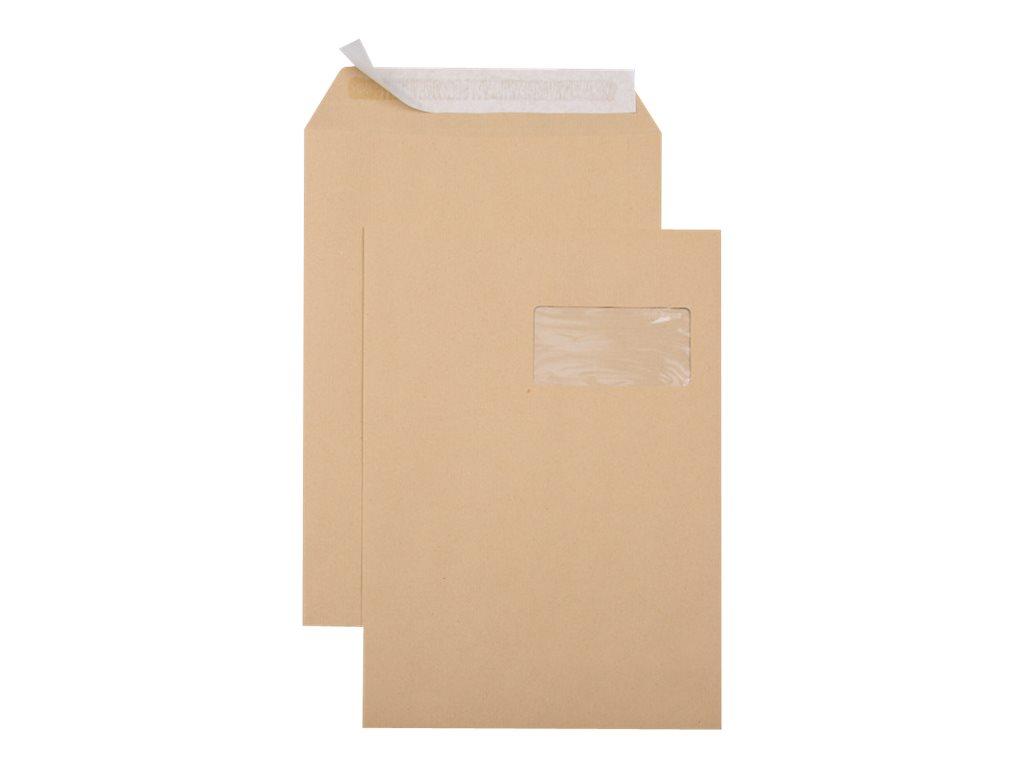GPV - 250 Pochettes Enveloppes C4 229 x 324 mm - 90 gr - fenêtre 50x100 mm - kraft - bande adhésive