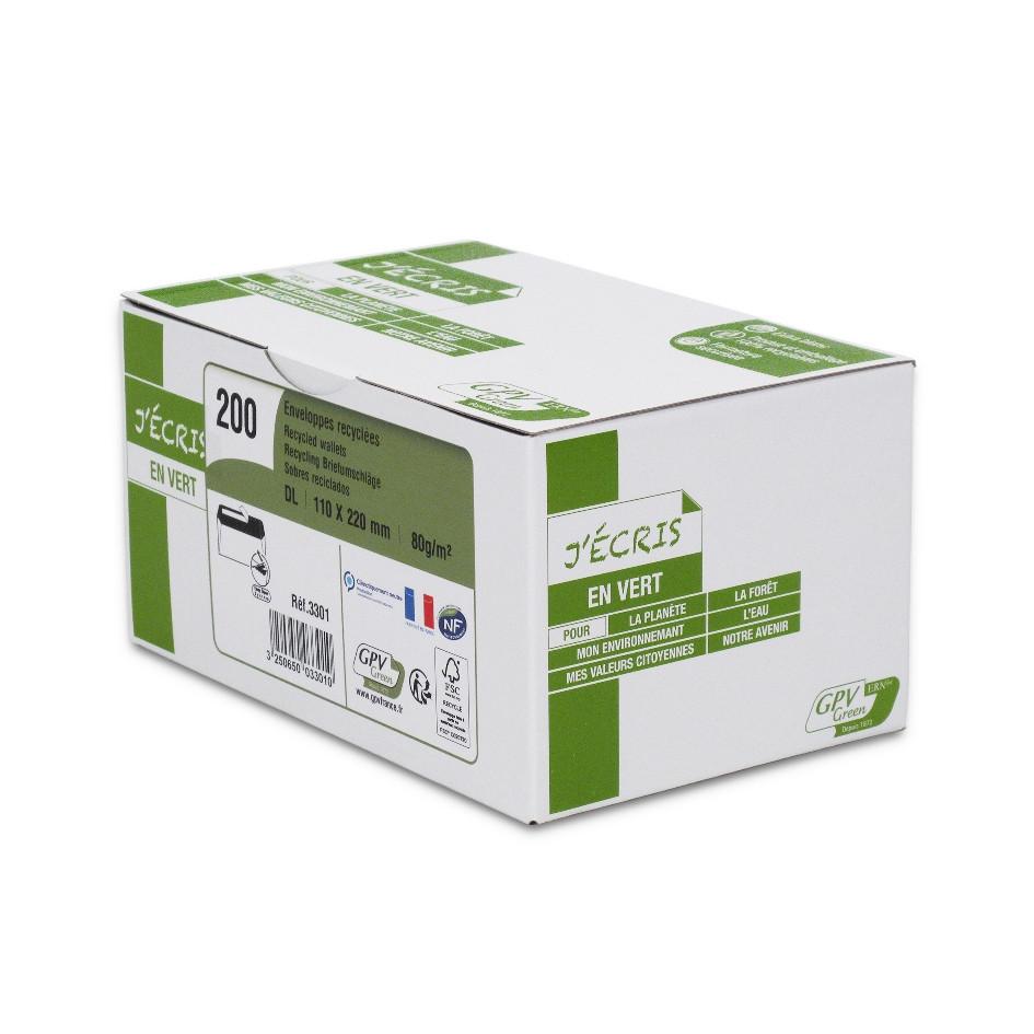 GPV Green - 200 Enveloppes recyclées DL 110 x 220 mm - 80 gr - sans fenêtre - blanc - bande adhésive ouverture rapide