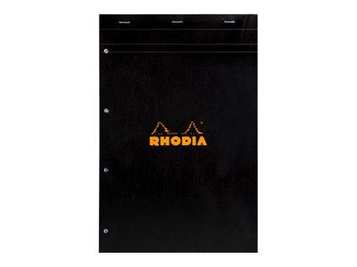 Rhodia - Bloc notes - A4 + - 160 pages - petits carreaux - noir