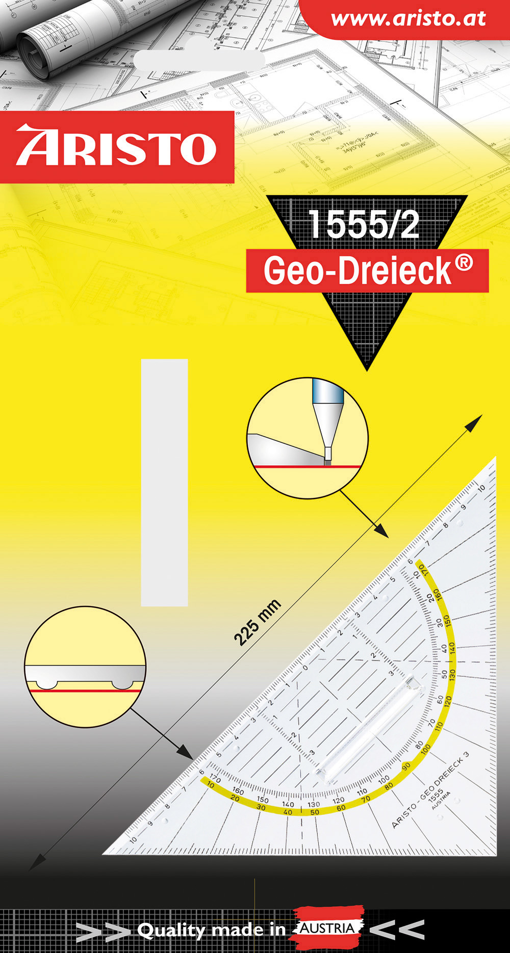 Aristo GEO-DREIECK 1555/2 - Équerre transparente - 22,5 cm