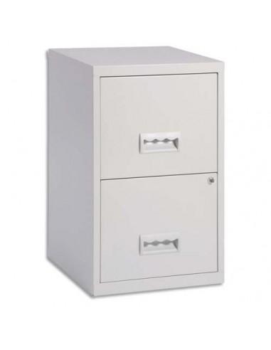 Classeur 2 tiroirs pour dossiers suspendus - 66 x 40 x 40 cm - gris