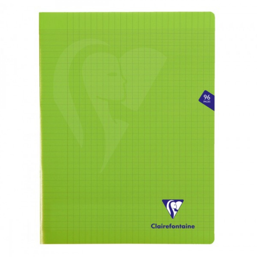 Clairefontaine Mimesys - Cahier polypro 24 x 32 cm - 96 pages - grands carreaux (Seyes) - vert