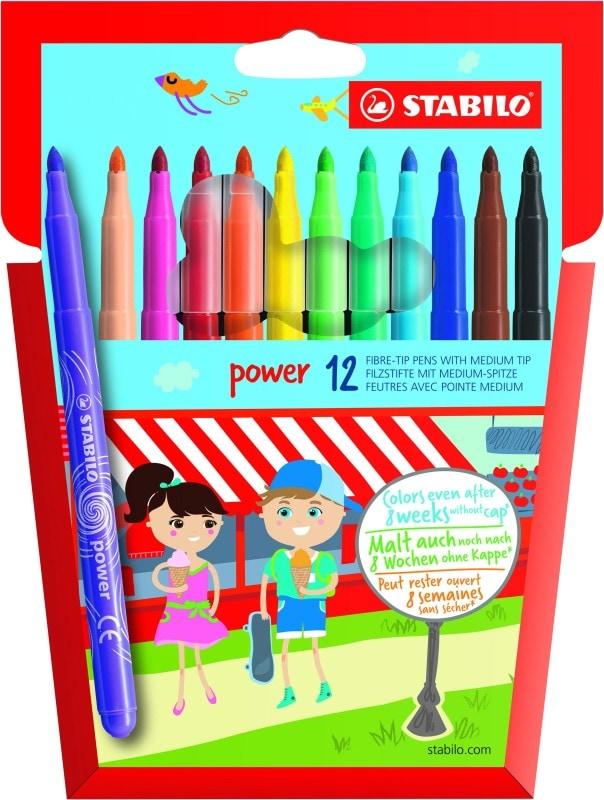 STABILO power - 12 Feutres pointe moyenne - couleurs assorties