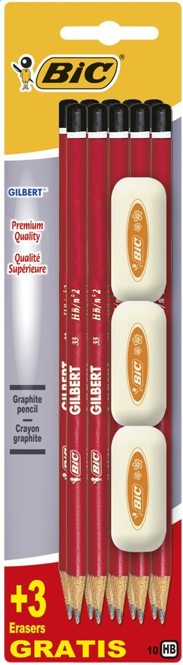 BIC - Pack de 10 crayons graphites HB + 3 gommes