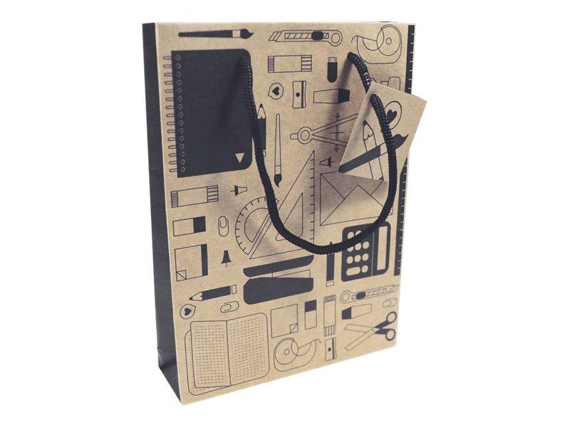 Clairefontaine - Sac cadeau kraft - 15 cm x 4 cm x 20 cm - différents motifs pictos