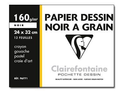 Clairefontaine Etival - Pochette papier à dessin - 12 feuilles - 24 x 32 cm - 160 gr - noir
