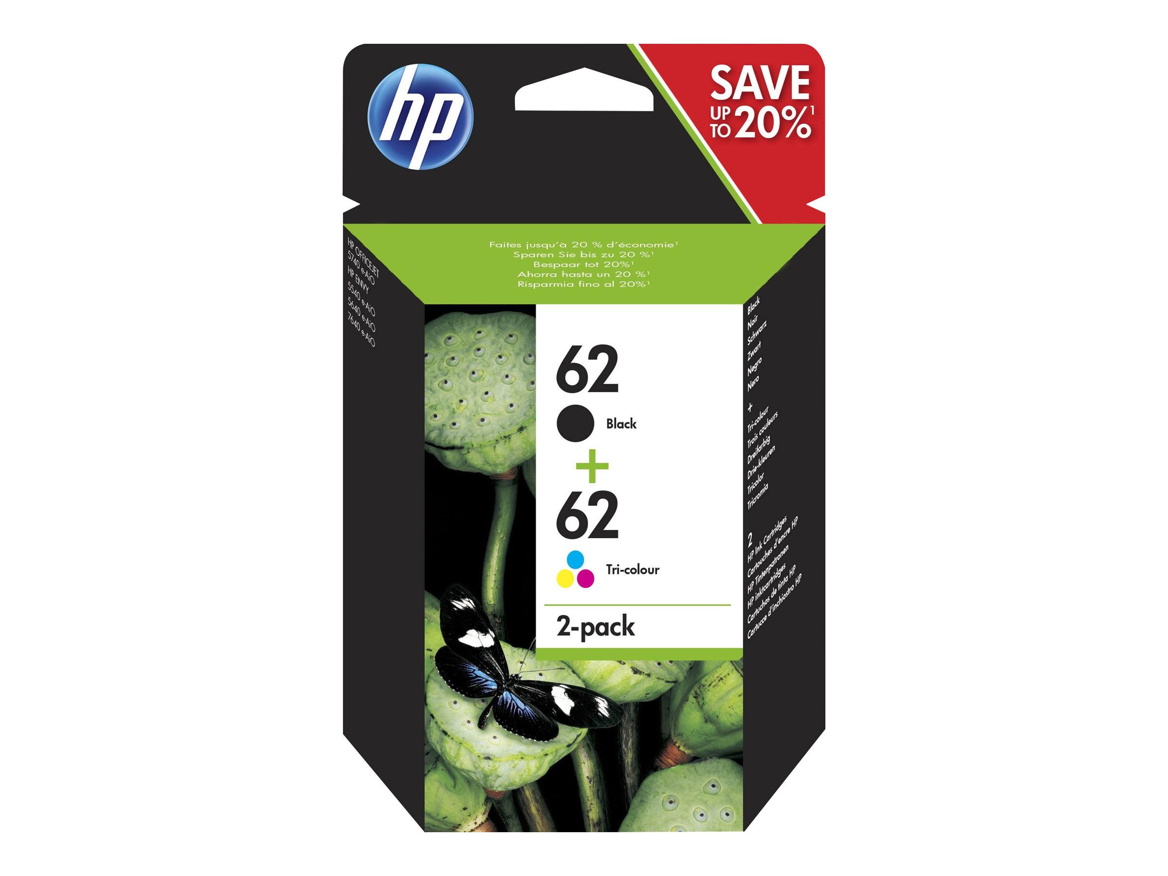 HP 62 - Pack de 2 - noir, cyan, magenta, jaune - cartouche d'encre originale