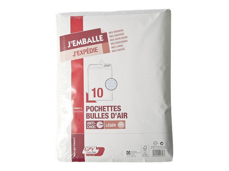 GPV Pack'n Post - 10 Pochettes bulles - 340 x 470 mm - bande de protection