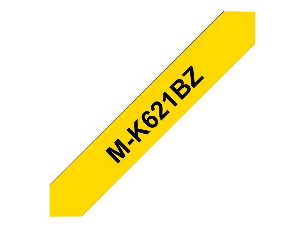 Brother MK621BZ - Ruban d'étiquettes papier auto-adhésives - 1 rouleau (9 mm x 8 m) - fond noir écriture jaune