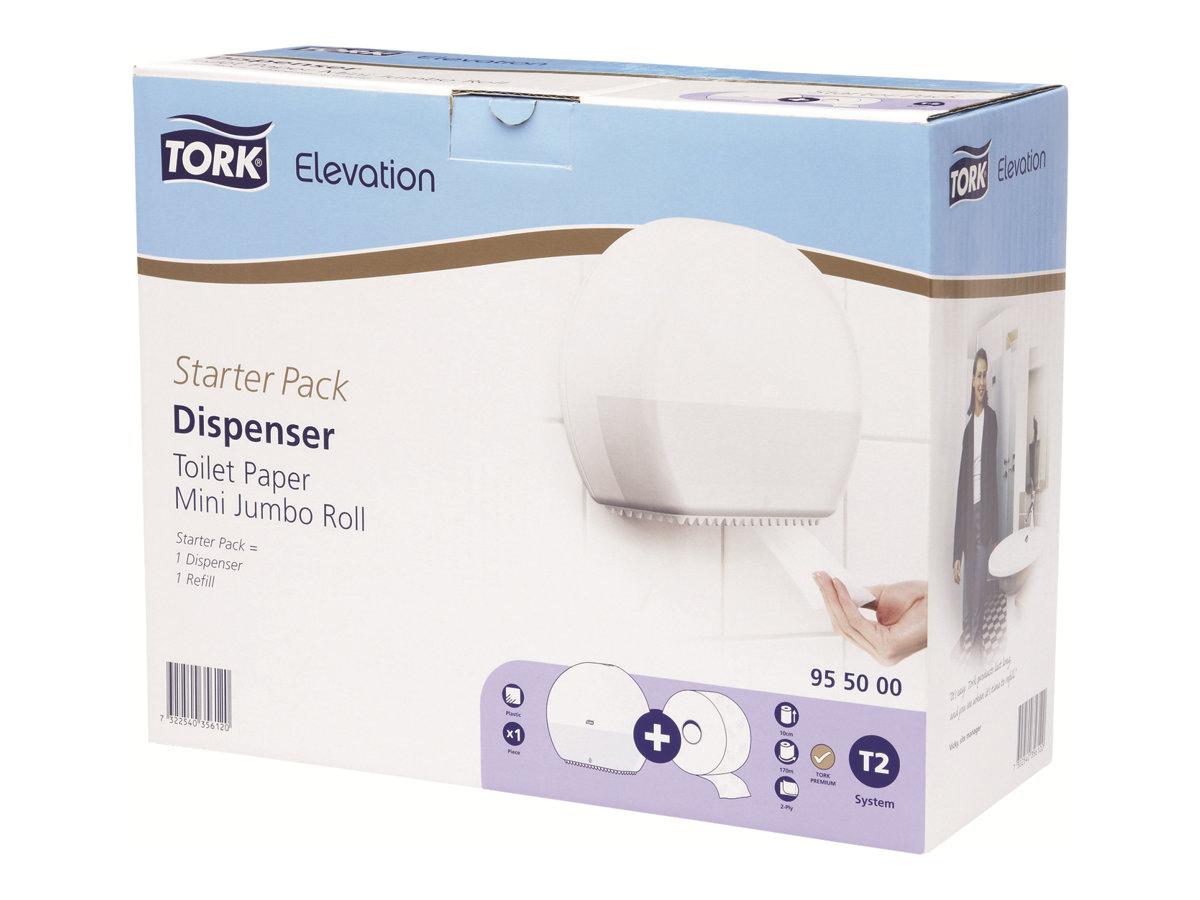 Tork Elevation Starter Pack Mini Jumbo T2 - Distributeur de papier toilette vendu avec 1 rouleau