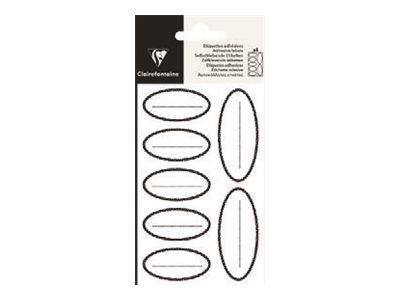 Clairefontaine - 28 Étiquettes ovales - 28,8 x 16 cm - noir