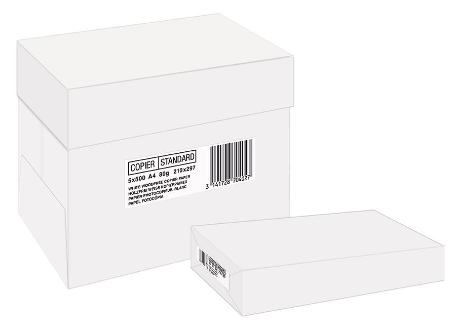 Papier blanc - A4 (210 x 297 mm) - 80 g/m² - 2500 feuilles (carton de 5 ramettes)