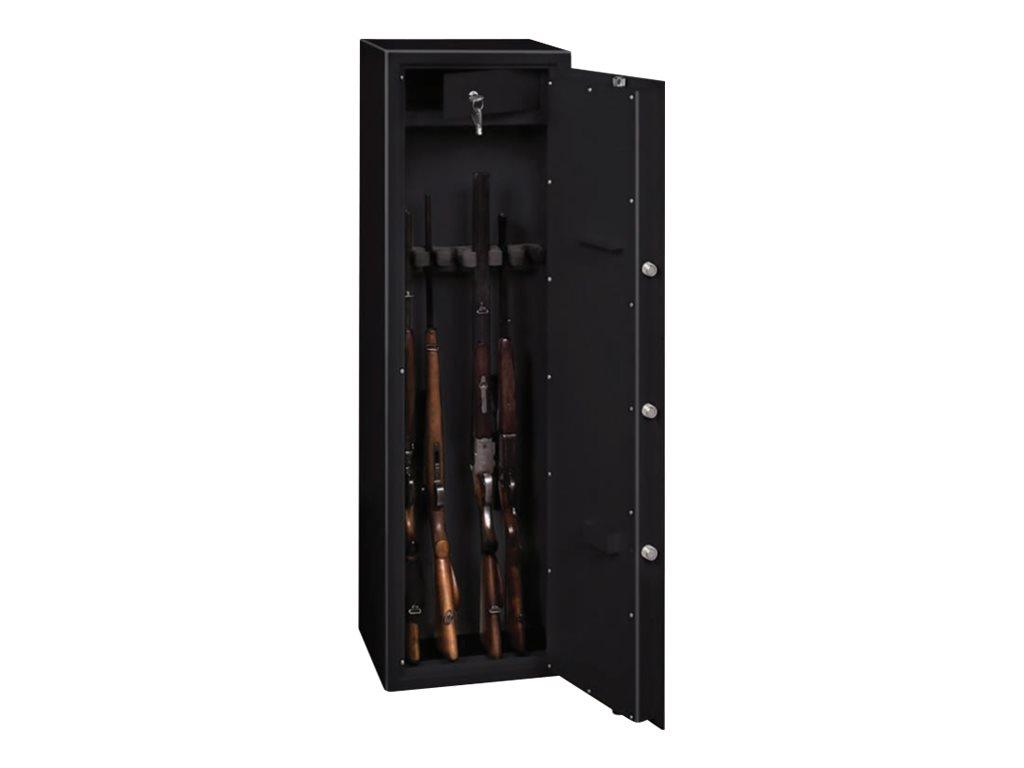 Reskal - Armoire de sécurité 55 kg pour 5 fusils - à clé - acier noir