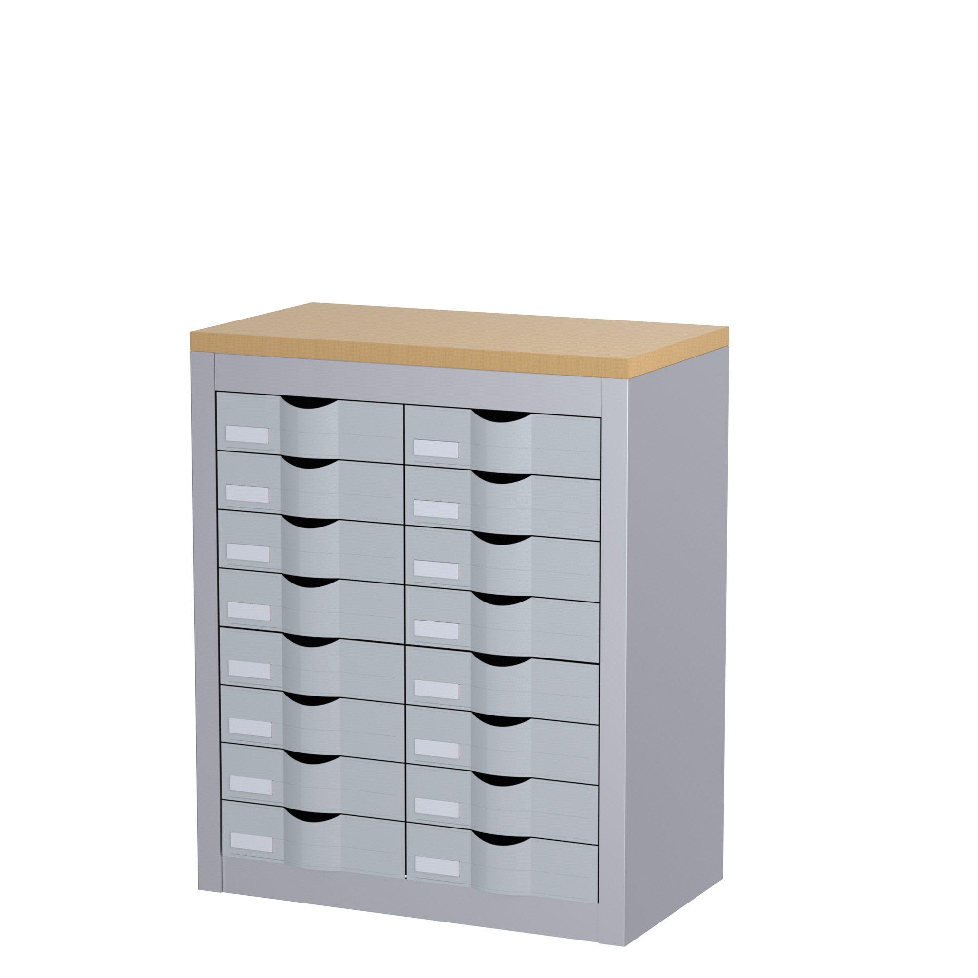 Meuble de rangement - 2 colonnes et 16 tiroirs - H75 x L60,5 x P33,5 cm - argent