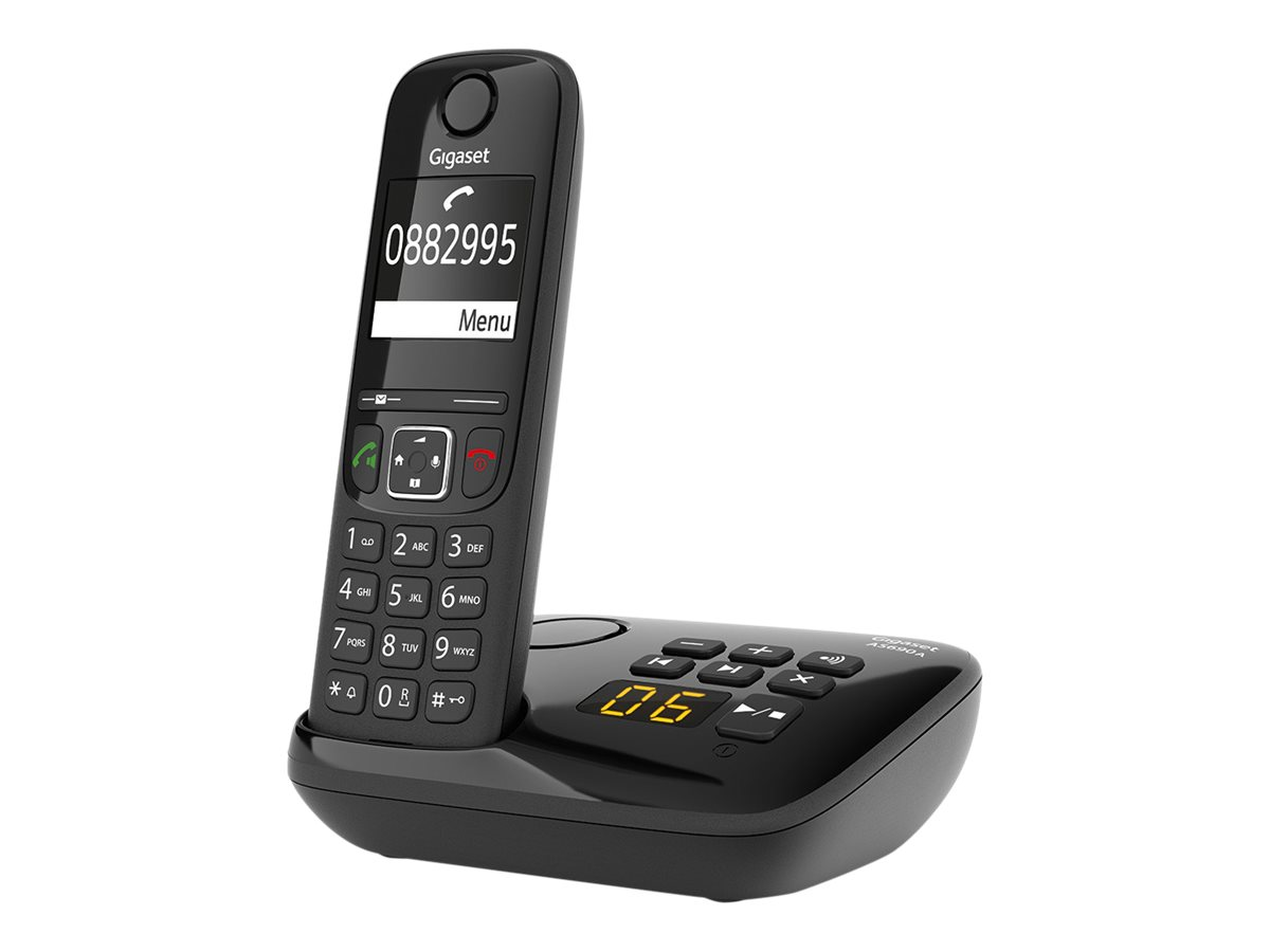 Gigaset AS690A Four - téléphone sans fil + 3 combinés supplémentaires - avec répndeur - noir