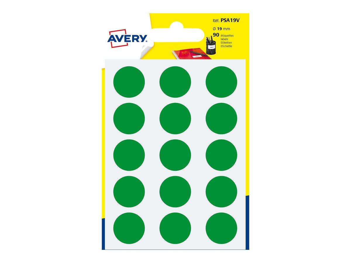 Avery - 90 Pastilles adhésives - vert - diamètre 19 mm