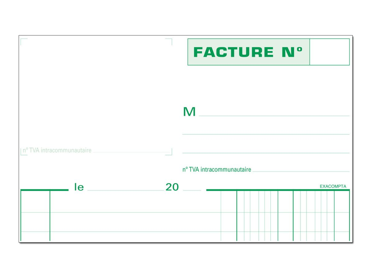 Exacompta - Manifold Carnet de factures avec TVA - 50 tripli - 21 x 15 cm