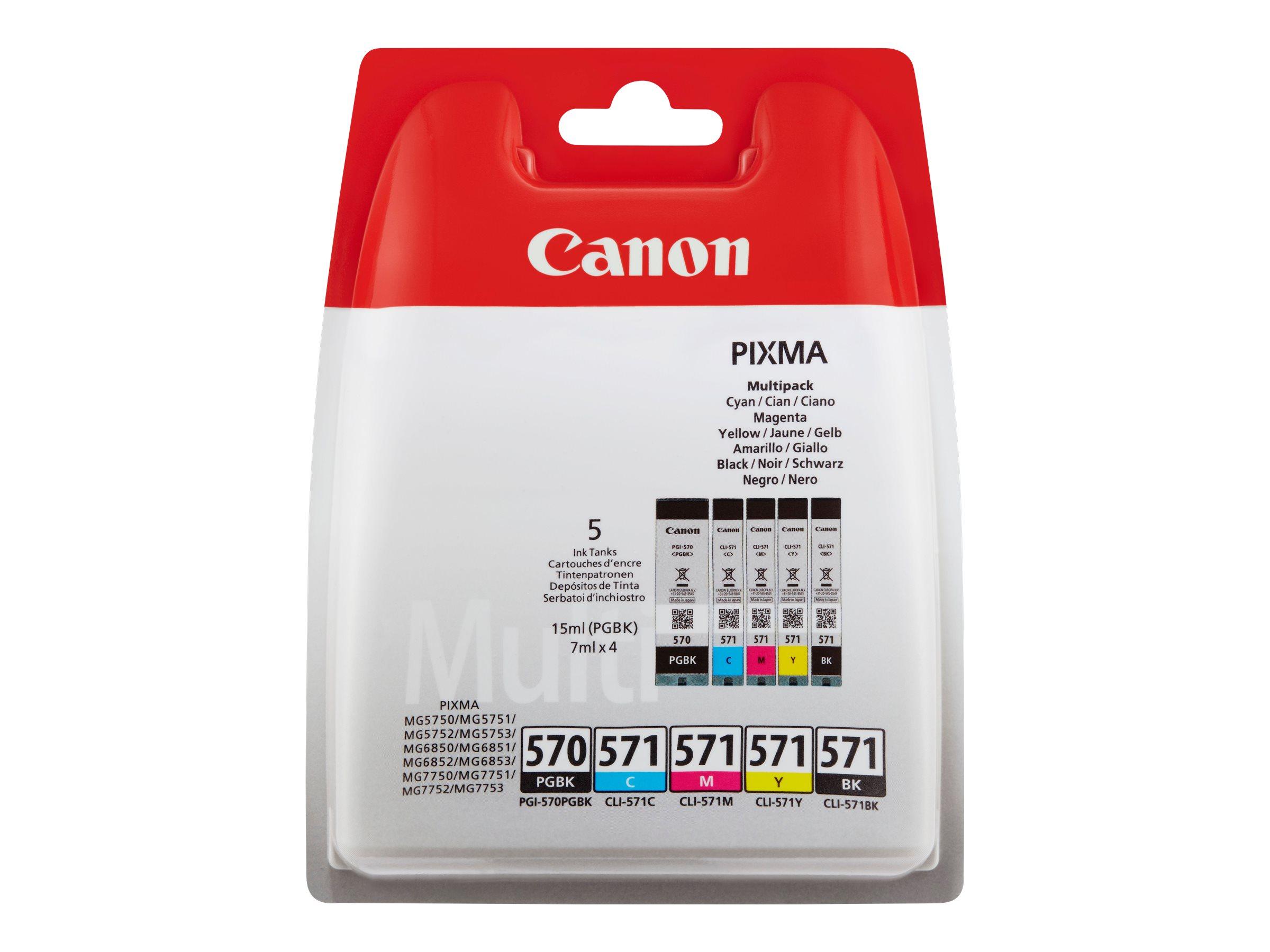 Canon CLI-571/PGI-570 - Pack de 5 - noir, cyan, magenta, jaune - cartouche d'encre originale