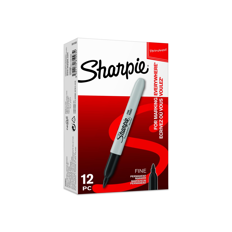 Sharpie - Pack de 12 marqueurs permanents - pointe fine - noir