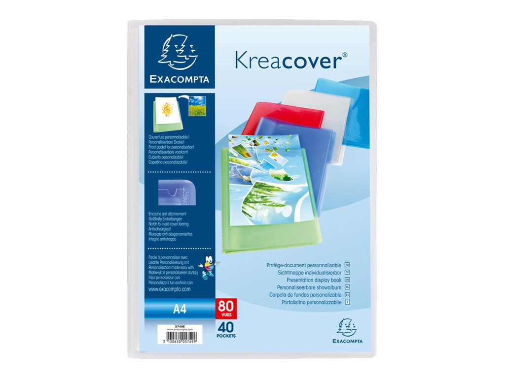 Exacompta KreaCover - Porte vues personnalisable - 80 vues - A4 - disponible dans différentes couleurs