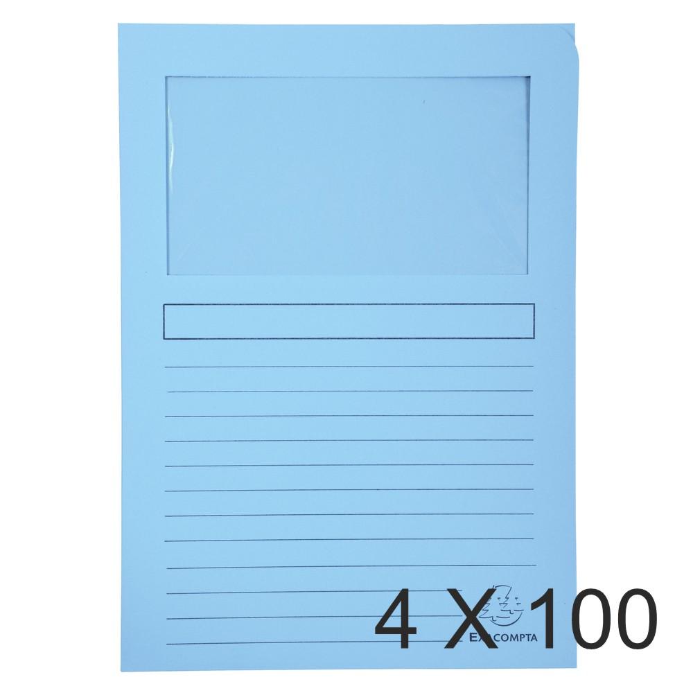 Exacompta Super 160 - 4 Paquets de 100 Chemises à fenêtre - 160 gr - bleu clair