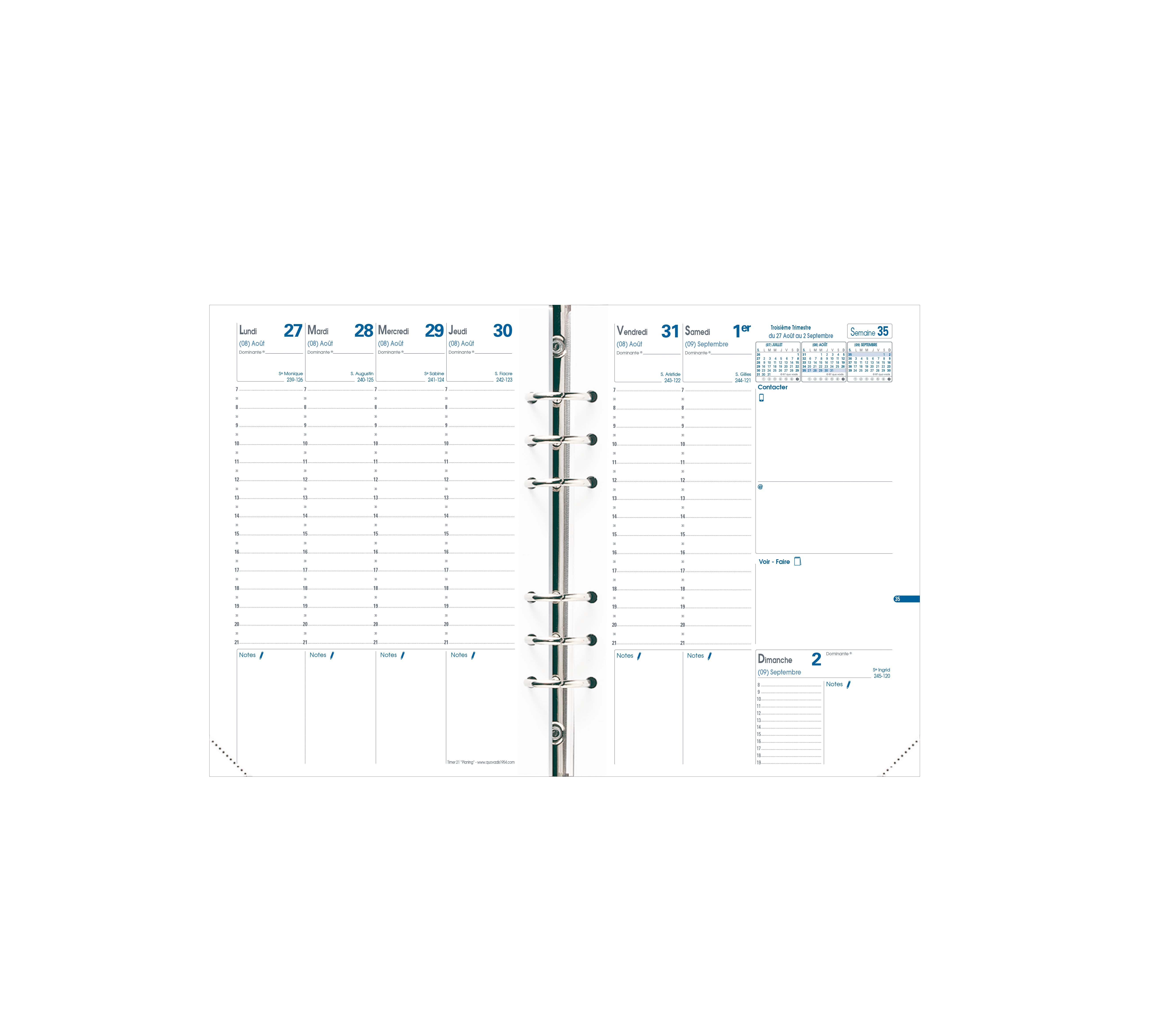 Quo Vadis Timer 21 Planning - Recharge pour organiseur - 1 semaine sur 2 pages - 15 x 21 cm