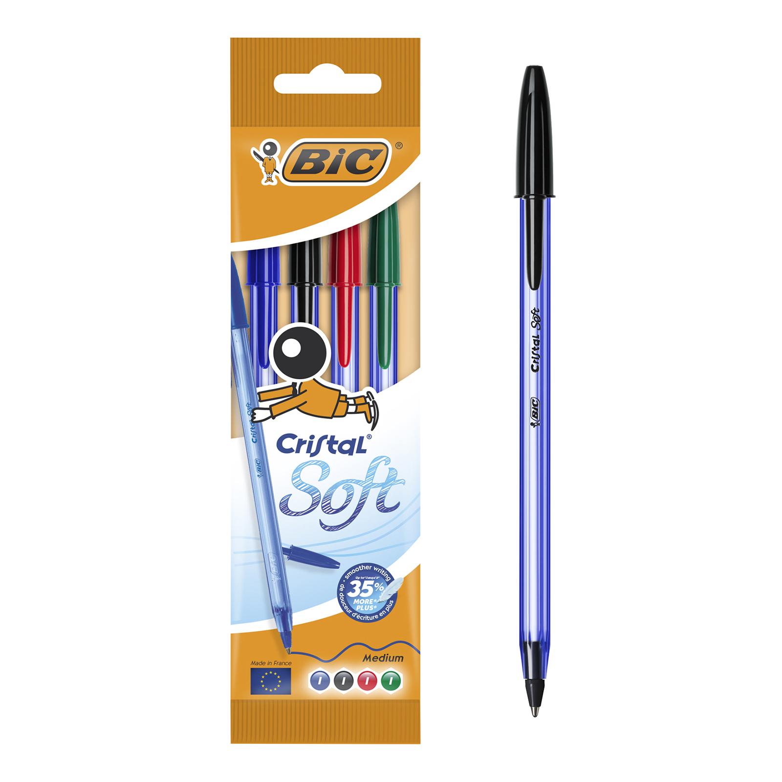 BIC Cristal SOFT - 4 Stylos à bille - noir, rouge, bleu, vert - 1.2 mm