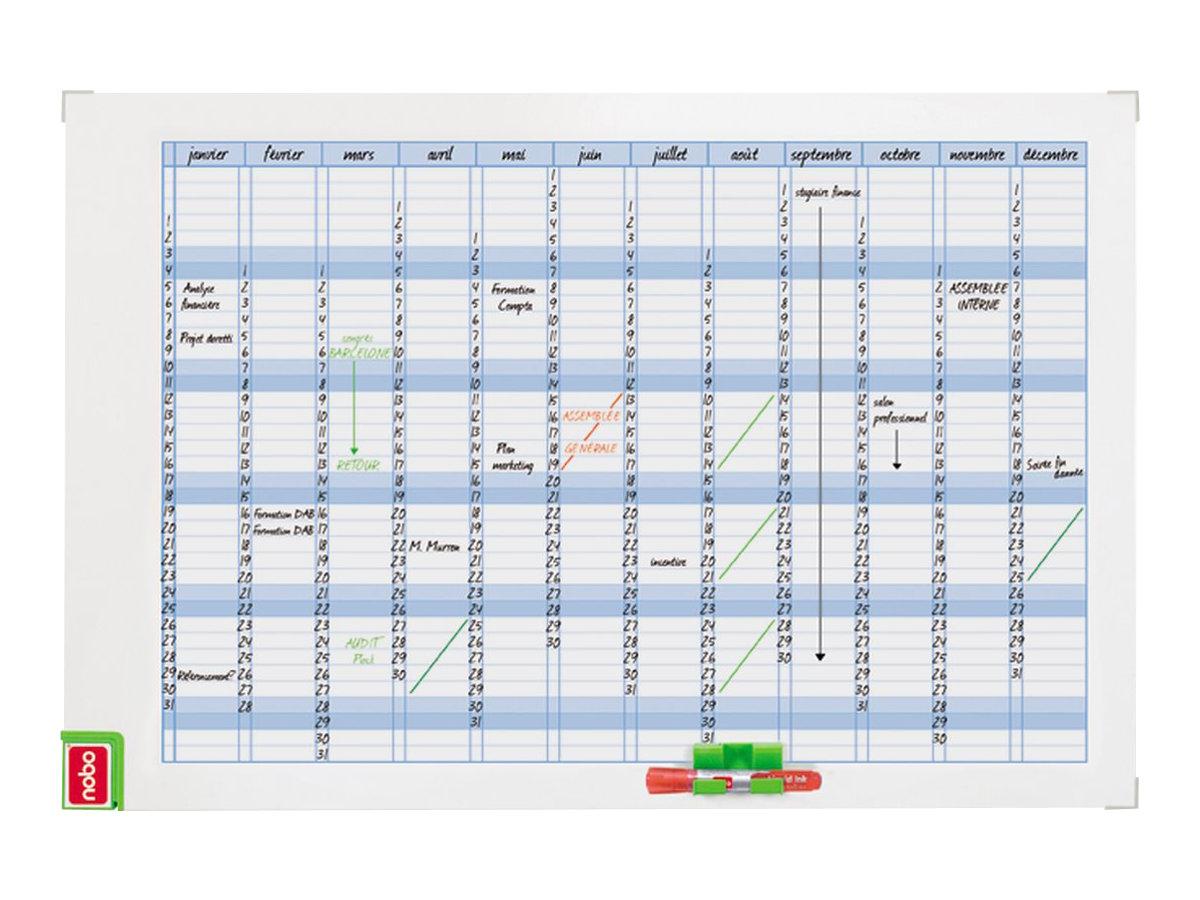 Nobo Performance - Planning annuel magnétique - effaçable à sec - 90 x 60 cm