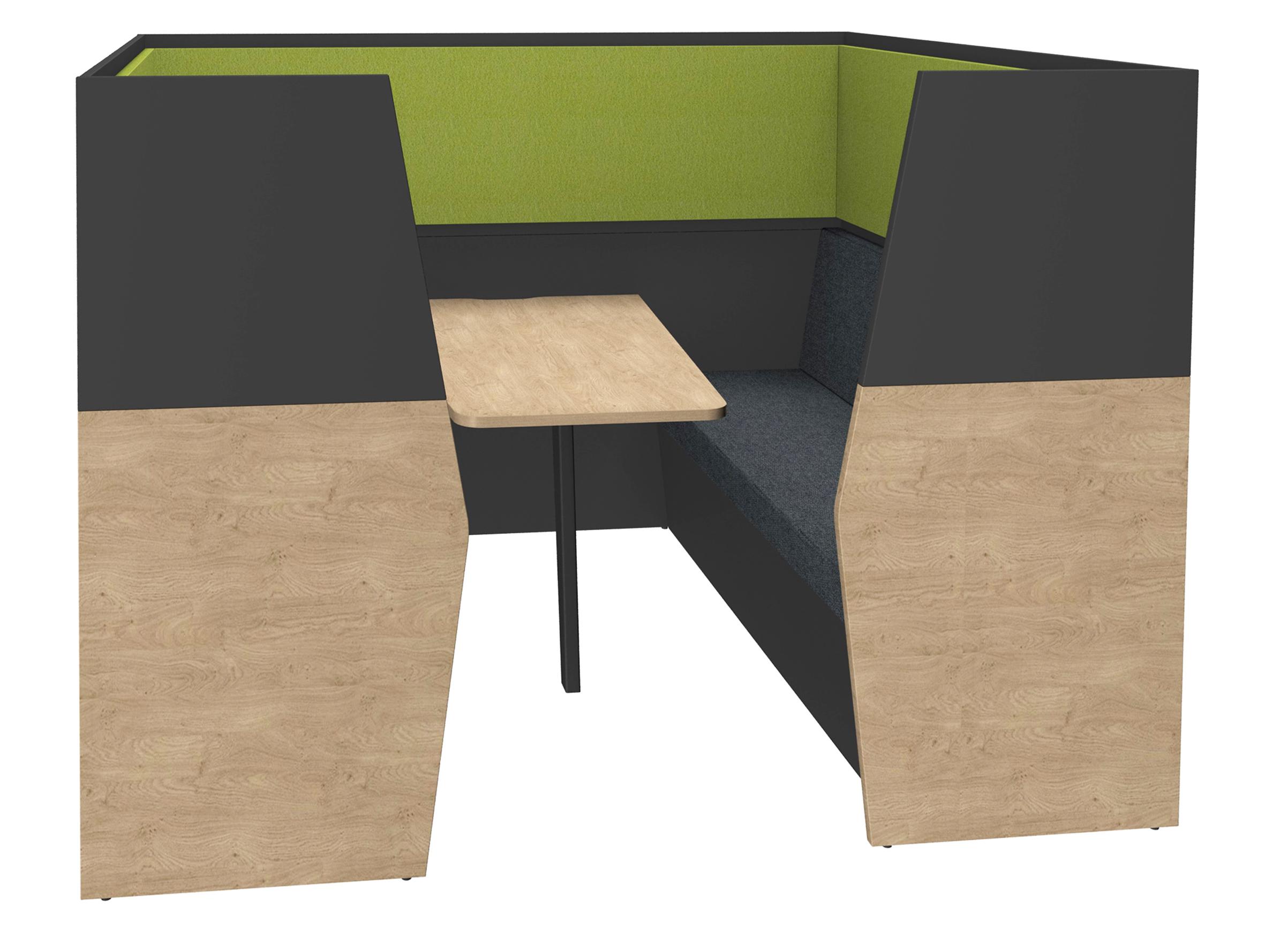 Box acoustique IN'TEAM - L210 x H 150 x P170 cm - 6 places avec table - structure chêne clair et carbone - panneaux vert chartreux