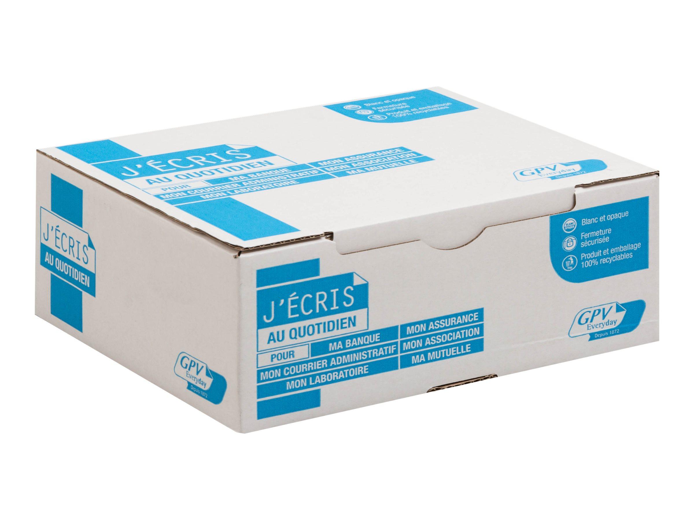 GPV - 500 Enveloppes DL 110 x 220 mm - 90 gr - fenêtre 45x100 mm - blanc - bande adhésive ouverture rapide
