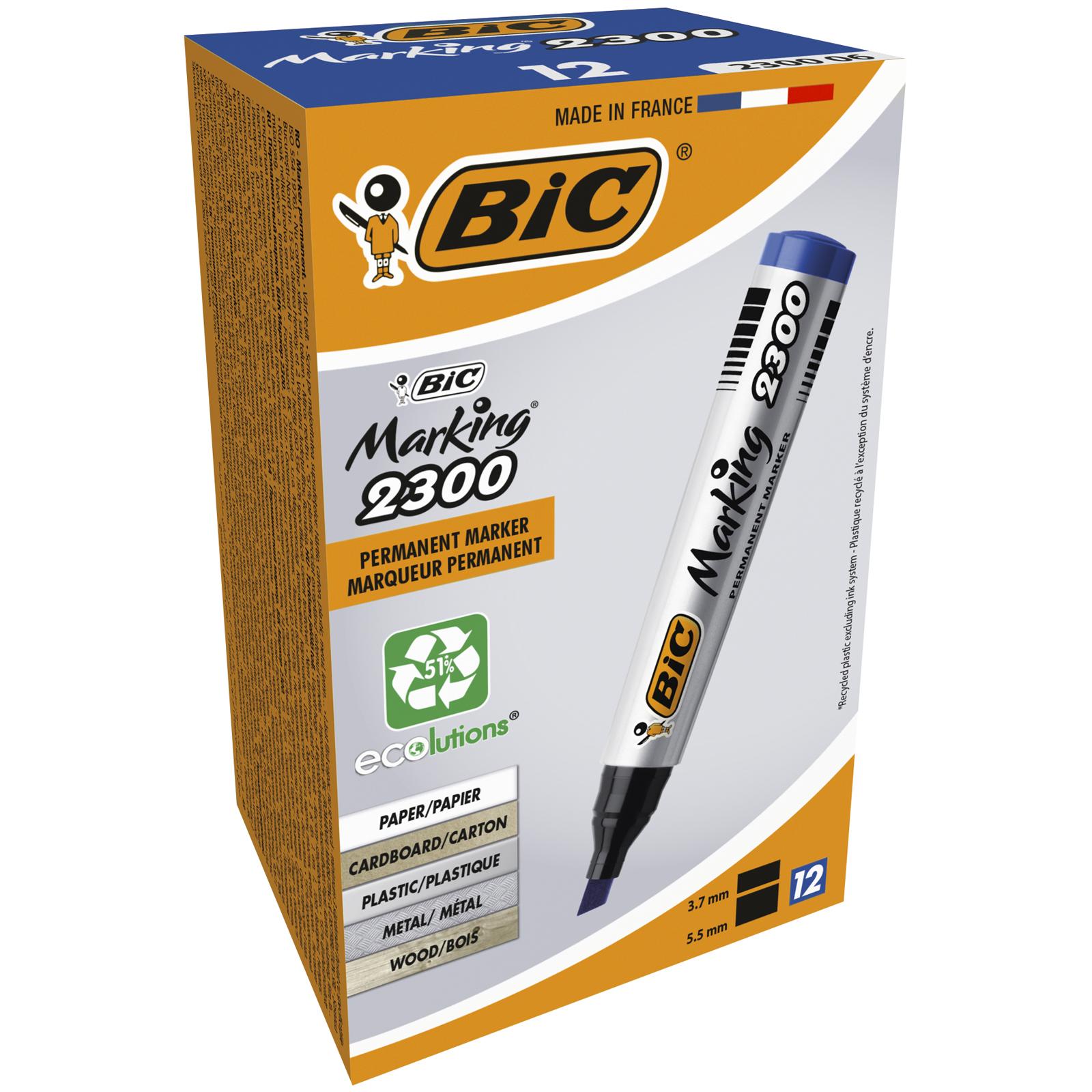 BIC MARKING 2300 - Pack de 12 marqueurs permanents - pointe biseau - bleu