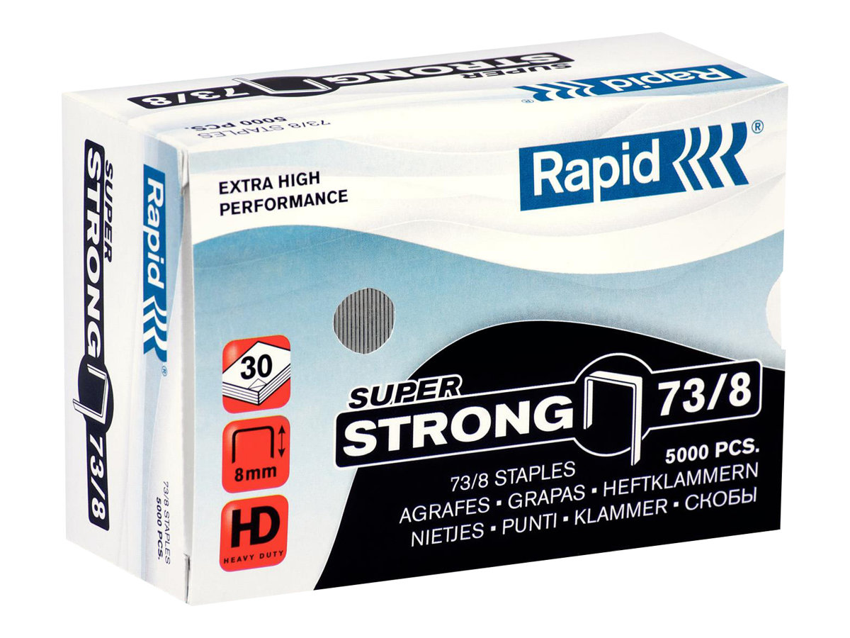 Rapid - Boîte de 5000 Agrafes Super Strong 73/8 - jusqu'à 30 feuilles - acier galvanisé