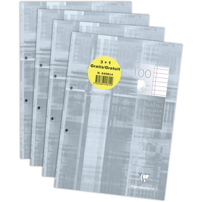Clairefontaine - Blocs de cours 3+1 gratuit perforés 2 trous 200 pages A4- ligné avec marge