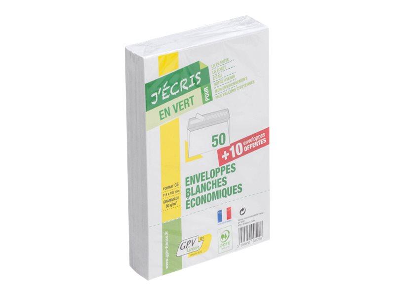 GPV Green - 50 Enveloppes recyclées + 10 gratuites C6 114 x 162 mm - 75 gr - sans fenêtre - bande auto-adhésive