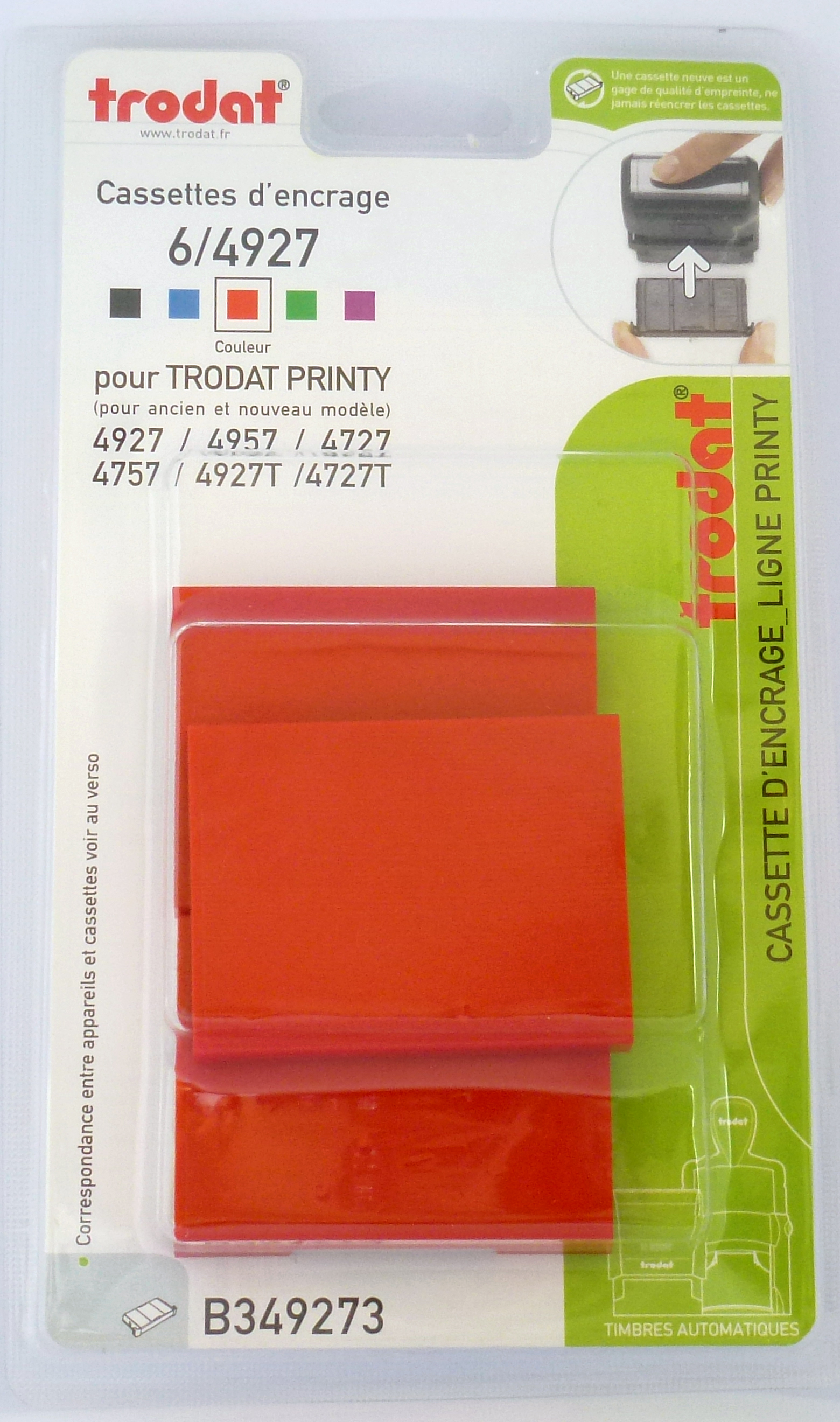 Trodat - 3 Encriers 6/4927 recharges pour tampon Printy 4927/4727/4957 - rouge