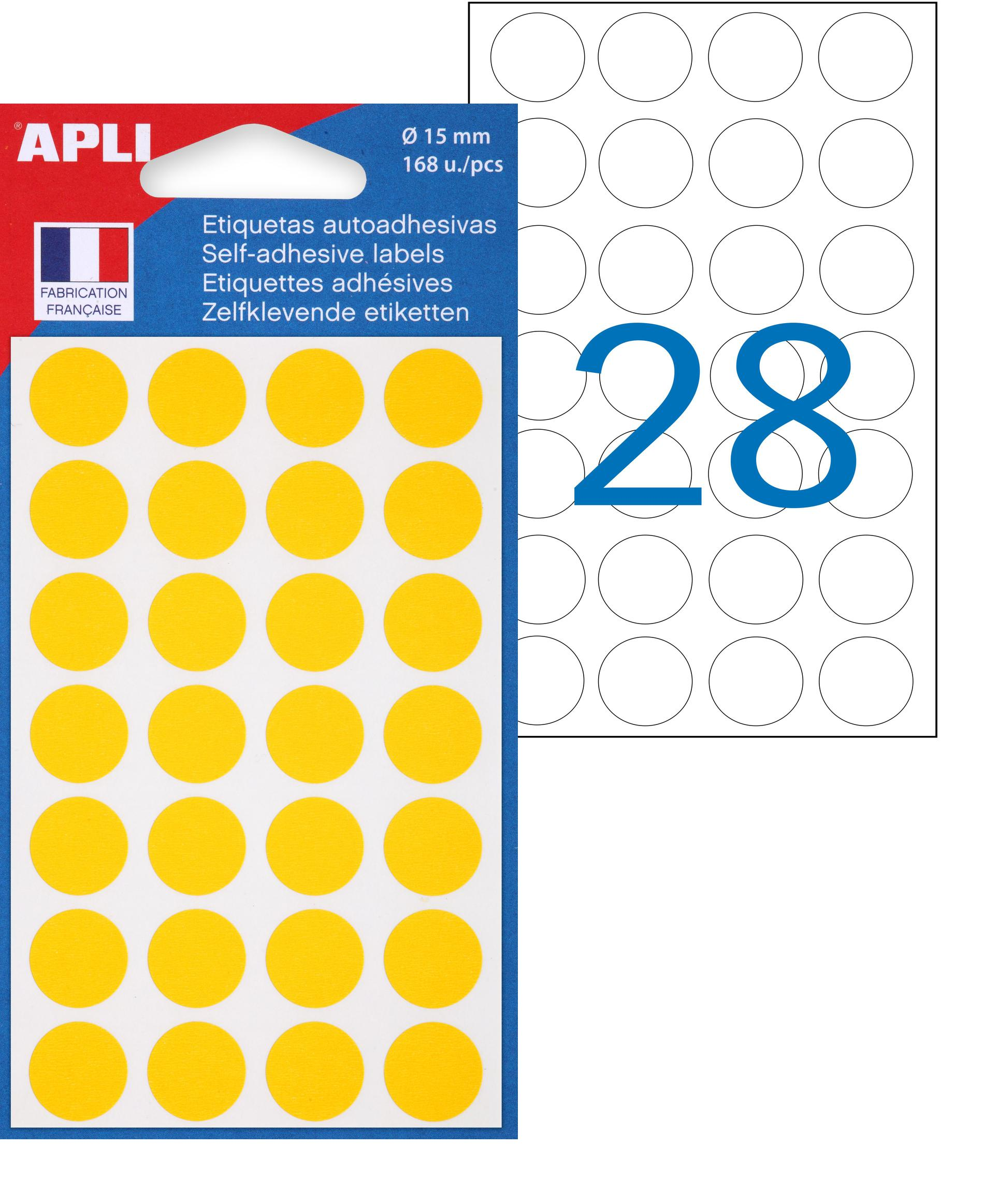 Apli Agipa - 168 Pastilles adhésives - jaune - diamètre 15 mm - réf 111844