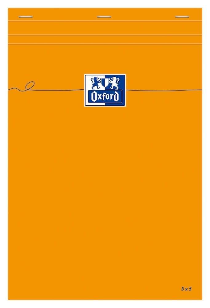 Oxford - Bloc notes - A4 - 160 pages - petits carreaux - 80G - orange