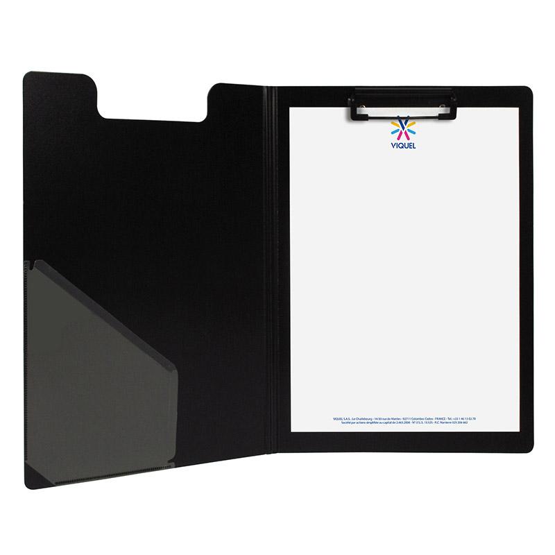 Viquel - Porte bloc à pince - A4 - avec fermeture - noir