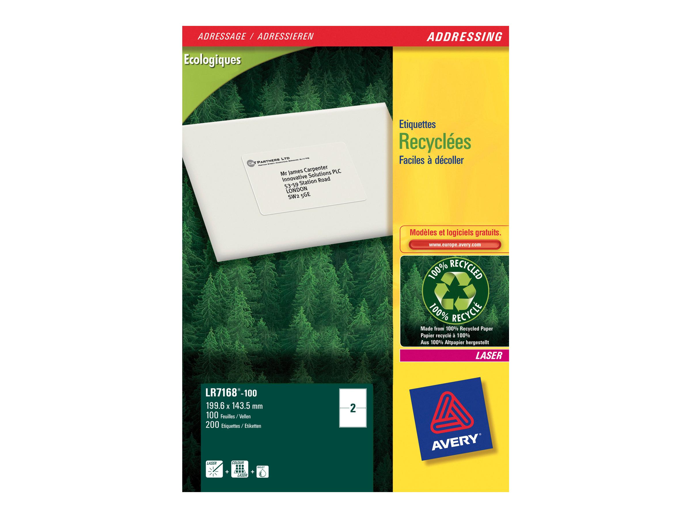 Avery - 200 Étiquettes adresse recyclées blanches - 143,5 x 199,6 mm - Impression laser - réf LR7168-100