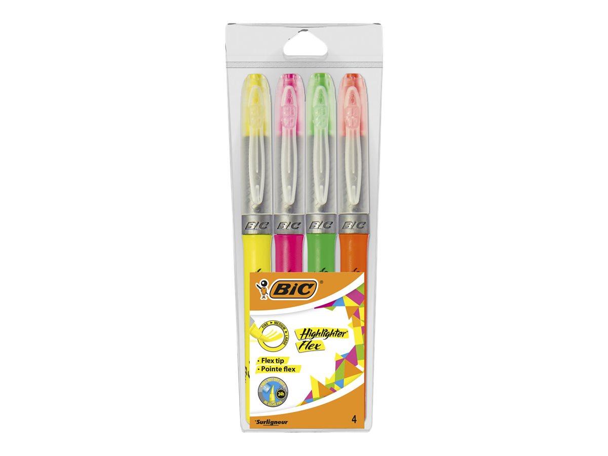 BIC Highlighter Flex - Pack de 4 surligneurs - couleurs assorties