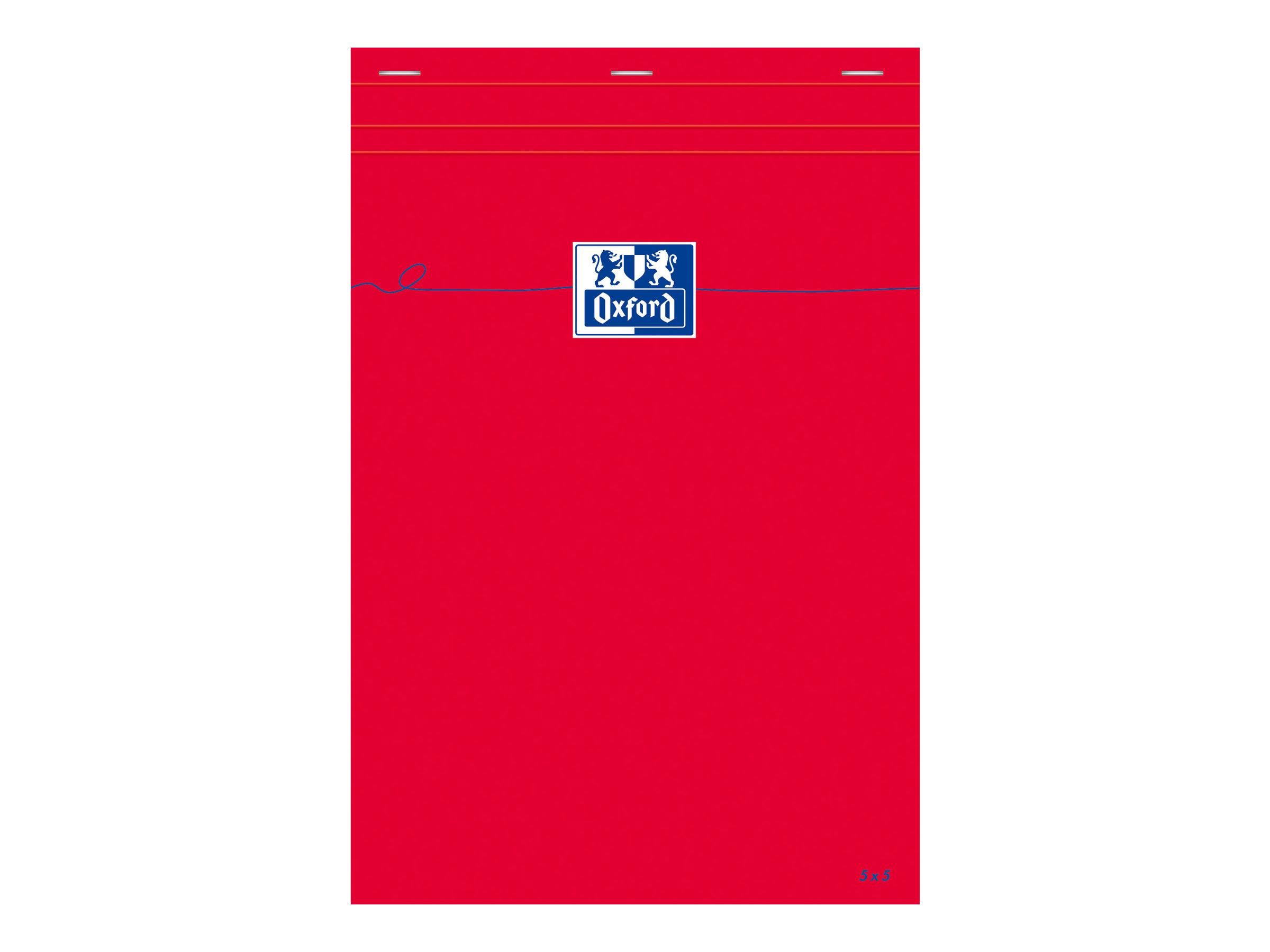 Oxford - Bloc notes - A4 - 160 pages - petits carreaux - 80G - rouge