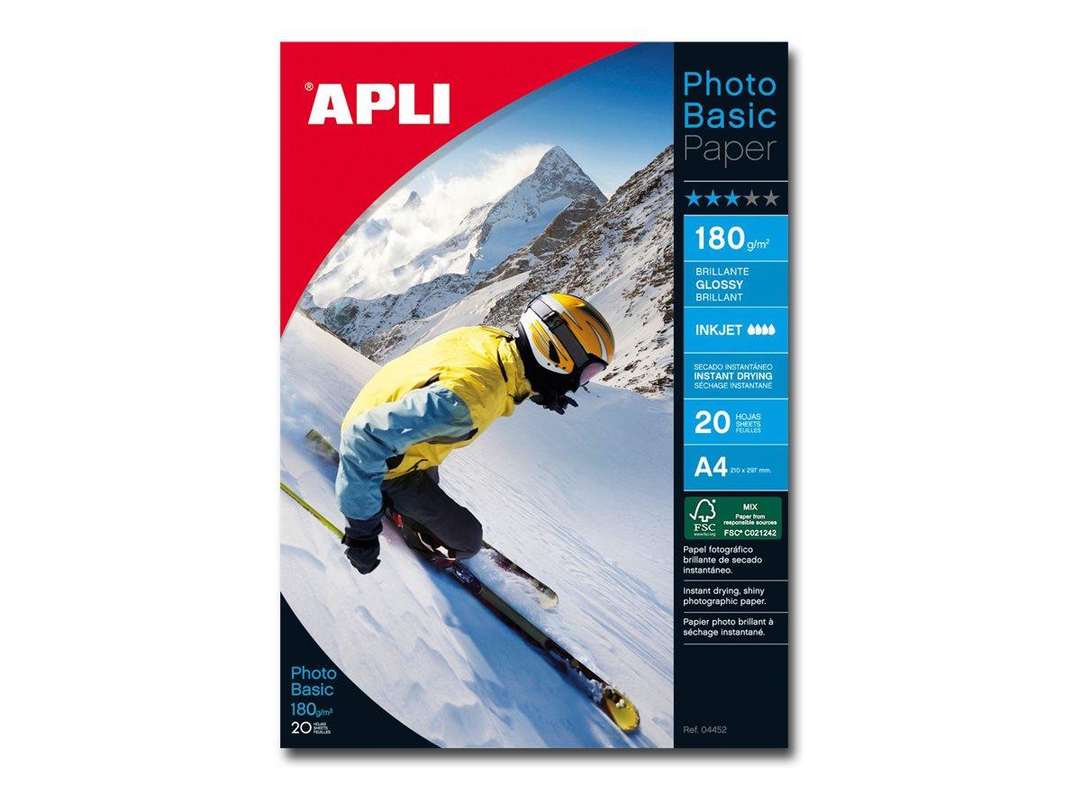 Apli Paper - Papier photo brillant - A4 - 180 g/m² - 20 feuilles