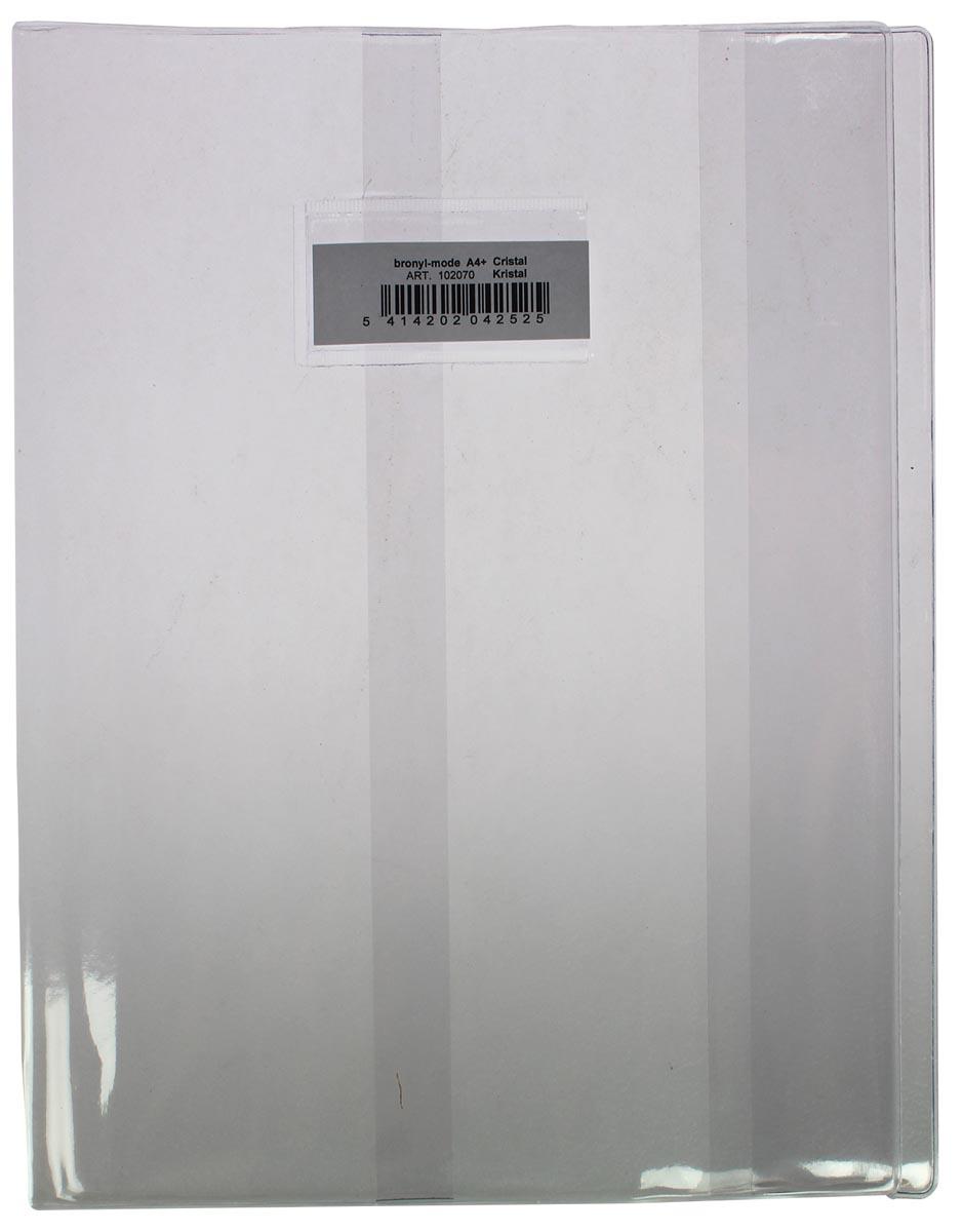 Protège cahier A4+ transparent - 24 x 32 cm - En plastique solide de 350 microns - Avec fenêtre et étiquette blanche