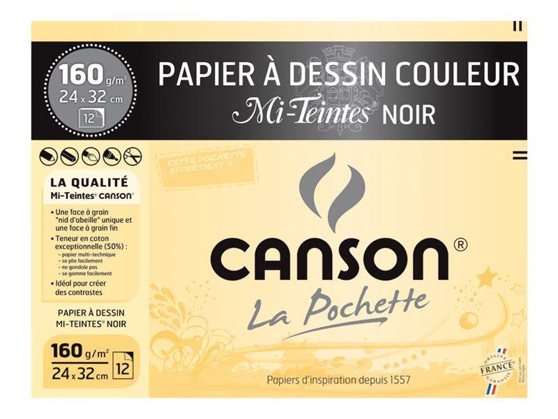 Canson - Pochette papier à dessin - 12 feuilles - 24 x 32 cm - 160 gr - noir