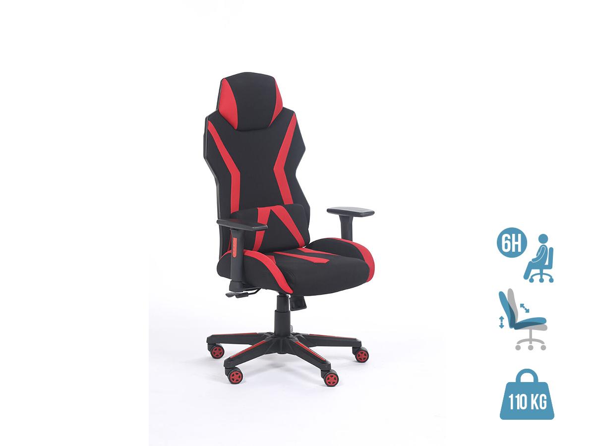 Fauteuil gamer POPER-T - accoudoirs réglables - Noir et rouge