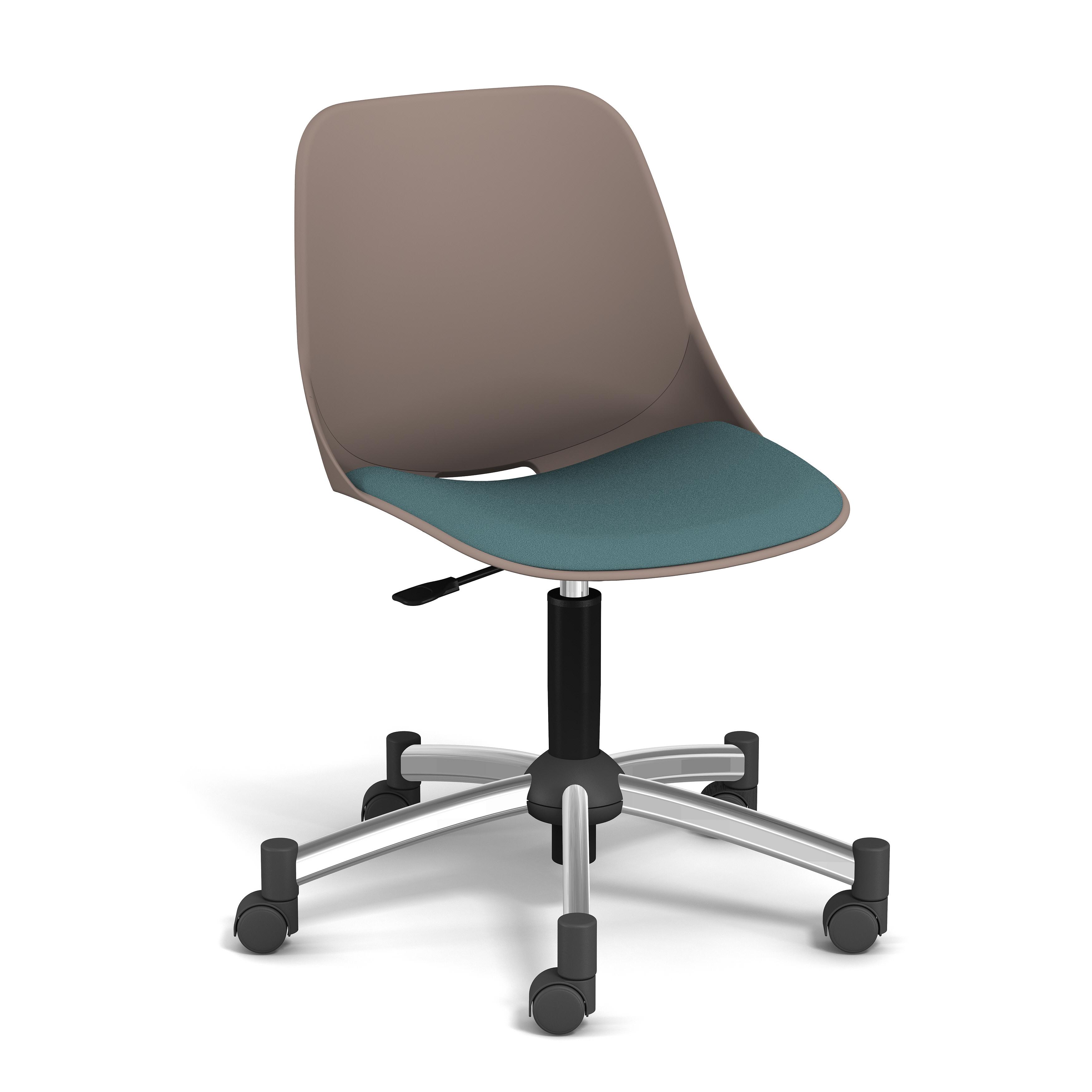 Chaise PALM - coque taupe - assise vert - base chromé