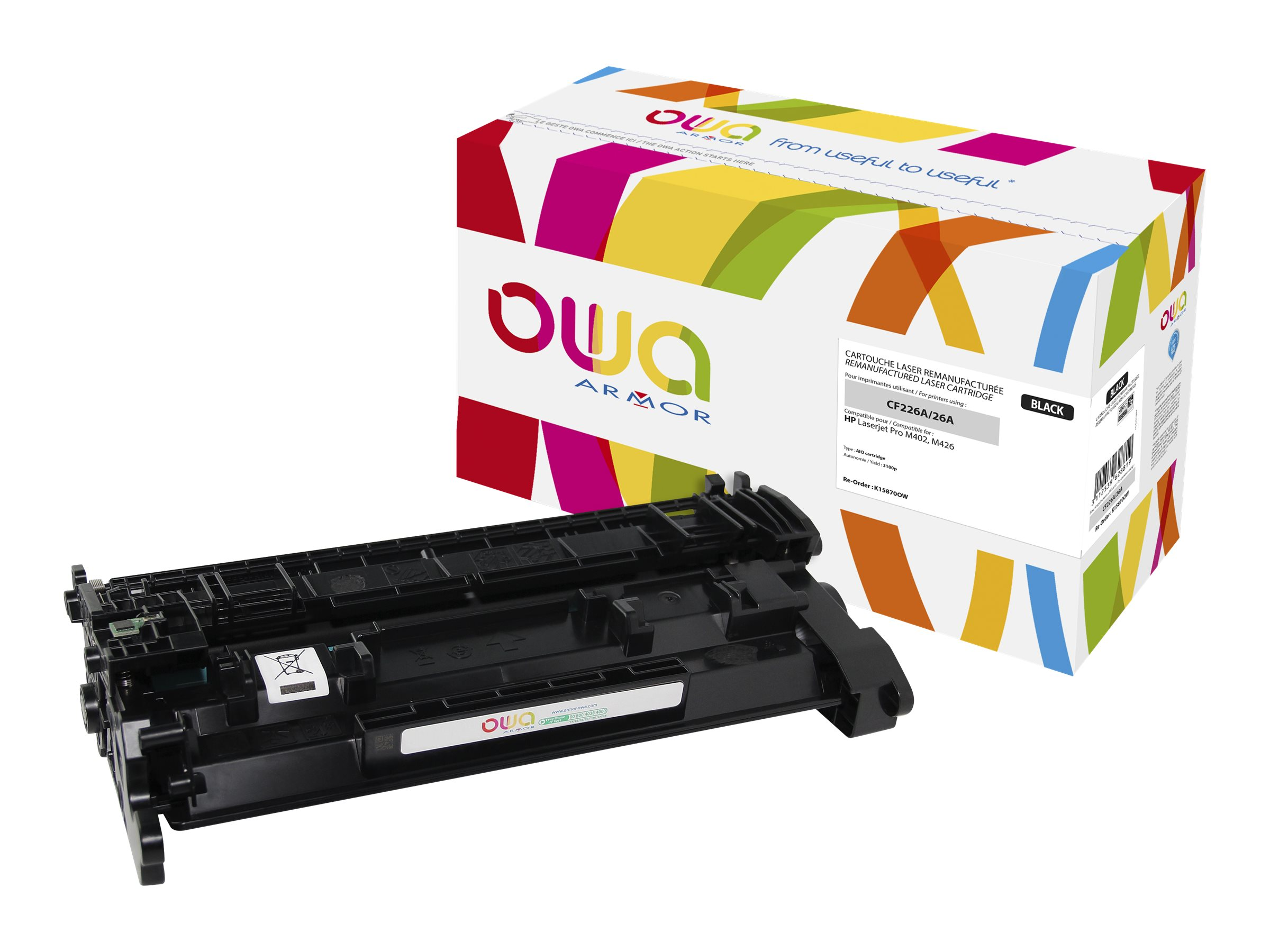 Owa K15870OW cartouche équivalente HP 26A - noir